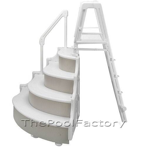Grand entrance steps outside ladder for above ground pools wedding cake style ebay - Above ground pool steps ...